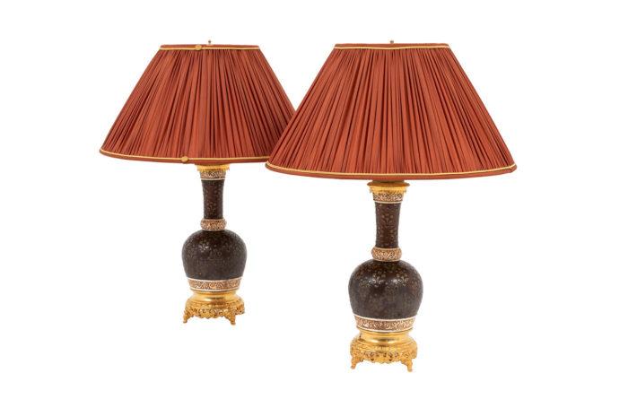 lampes en porcelaine cuir de cordoue