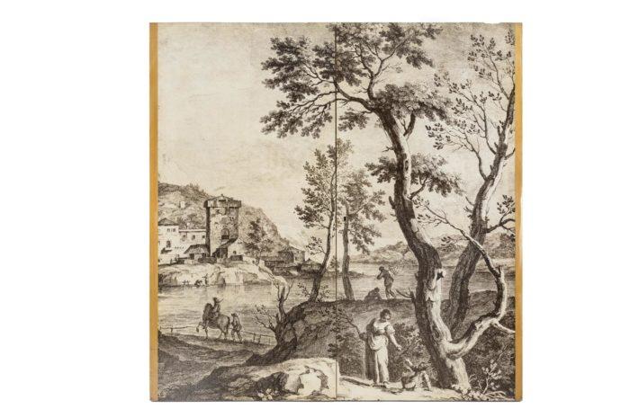 fornasetti portes papier peint gravure paysage