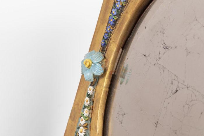 cadre miroir micro-mosaïque fleur bleue