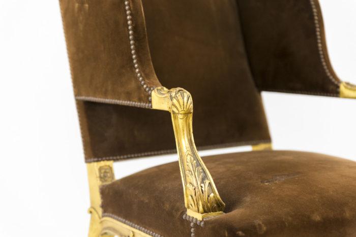 fauteuil style louis xvi a oreilles bois doré accotoirs