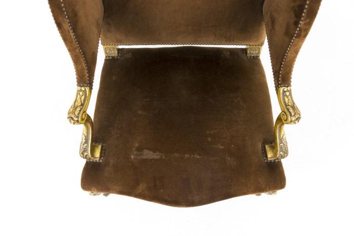 fauteuil style louis xvi a oreilles bois doré assise