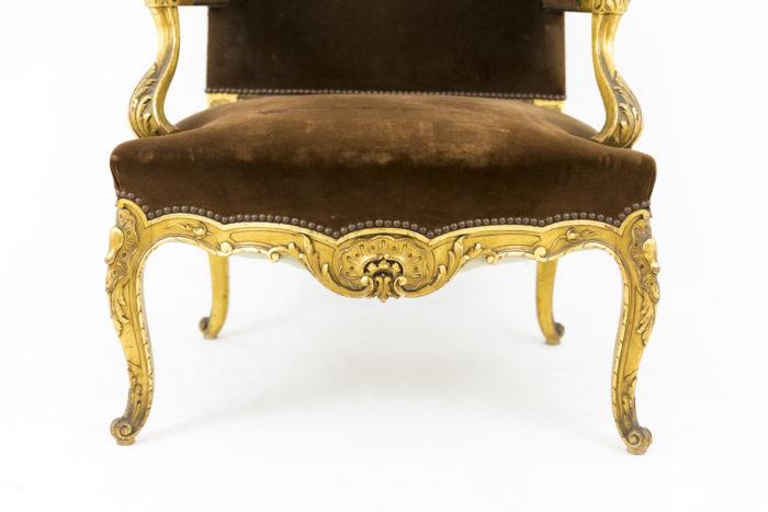 fauteuil style louis xvi a oreilles bois doré bas