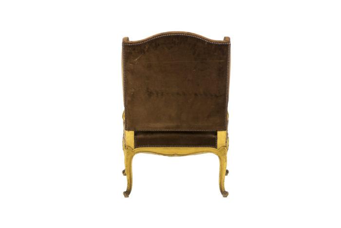 fauteuil style louis xvi a oreilles bois doré dos