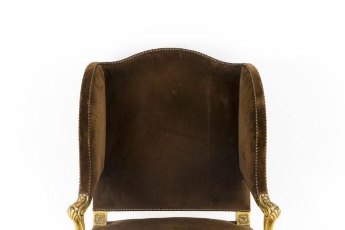 fauteuil style louis xvi a oreilles bois doré dossier
