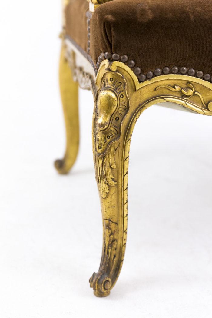 fauteuil style louis xvi a oreilles bois doré pied