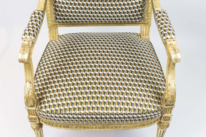 fauteuil style louis xvi bois doré assise