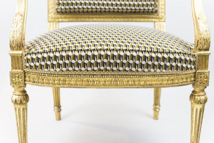 fauteuil style louis xvi bois doré ceinture