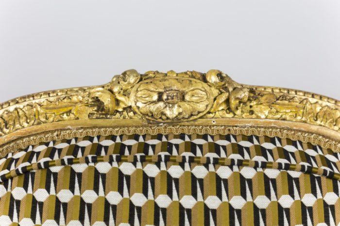 fauteuil style louis xvi bois doré dossier detail
