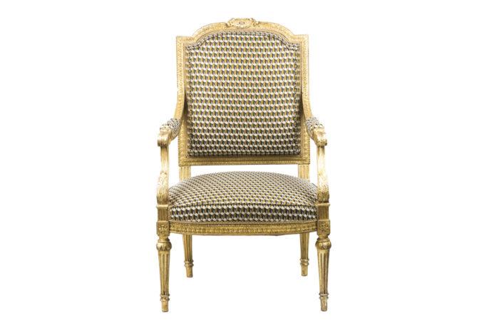fauteuil style louis xvi bois doré face