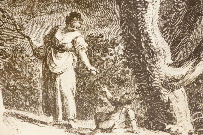 fornasetti porte papier peint decor gravure femme