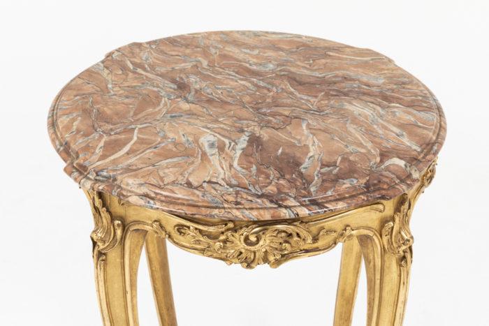 guéridon style louis xv plateau marbre