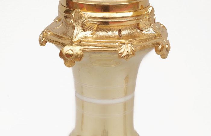 lampe porcelaine irisée monture bronze