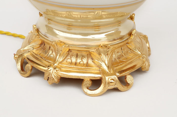 lampe porcelaine irisée monture bronze doré