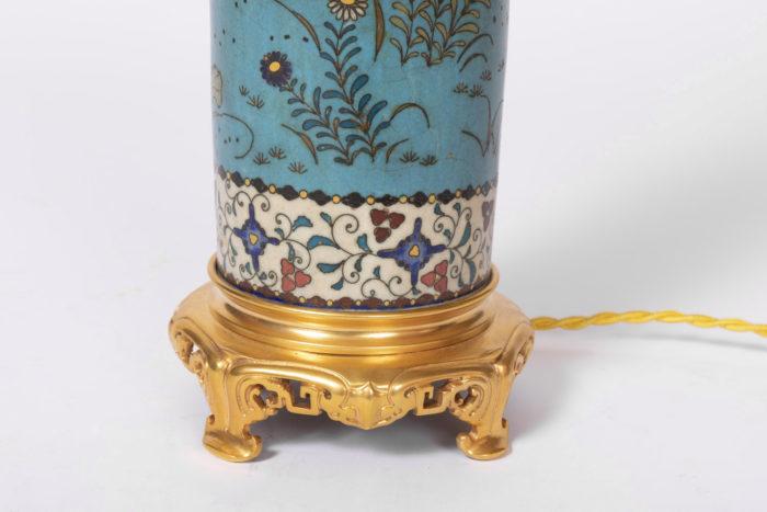lampes émaux cloisonnés base bronze doré