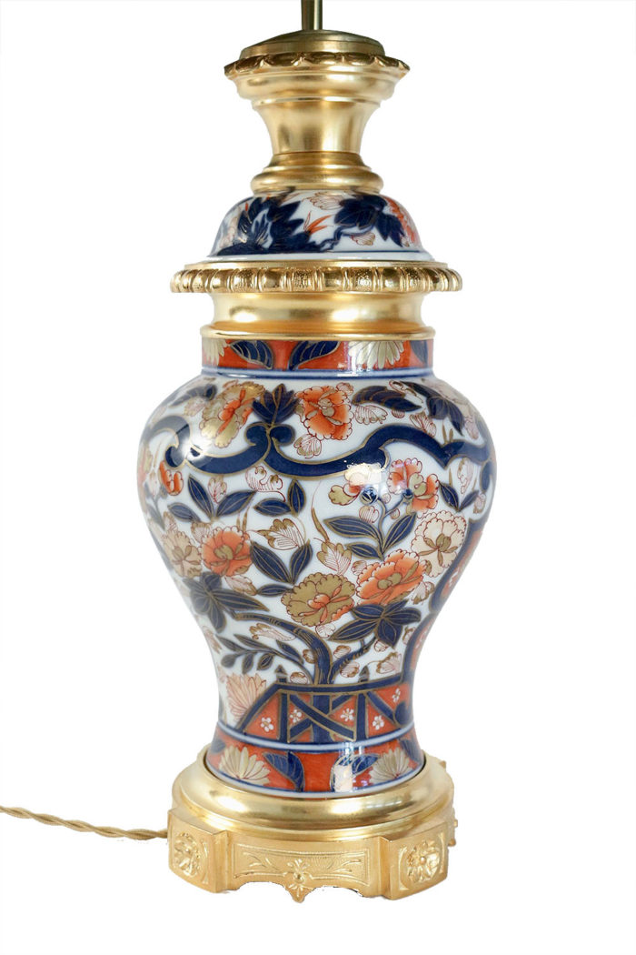 lampes porcelaine bayeux décor imari balustre