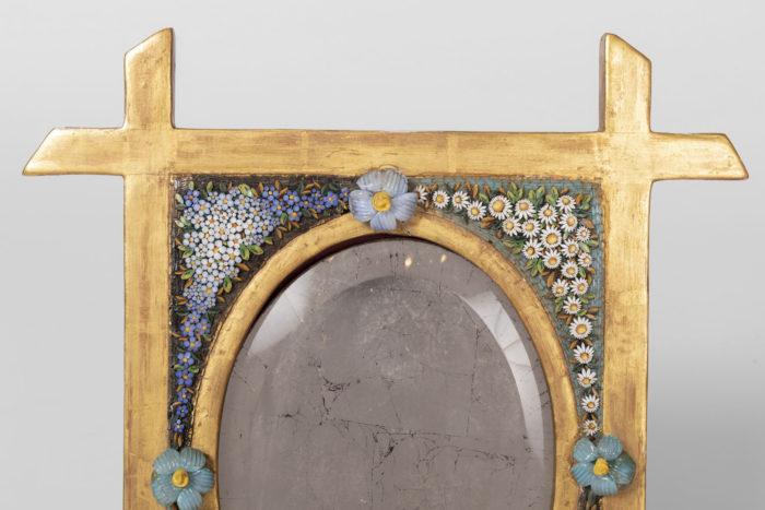miroir de table mosaïque encadrement or dessus