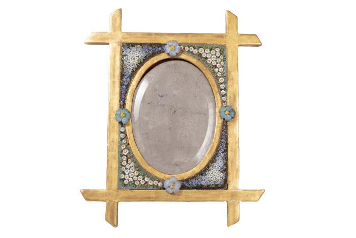 miroir de table mosaïque fleurs pcple