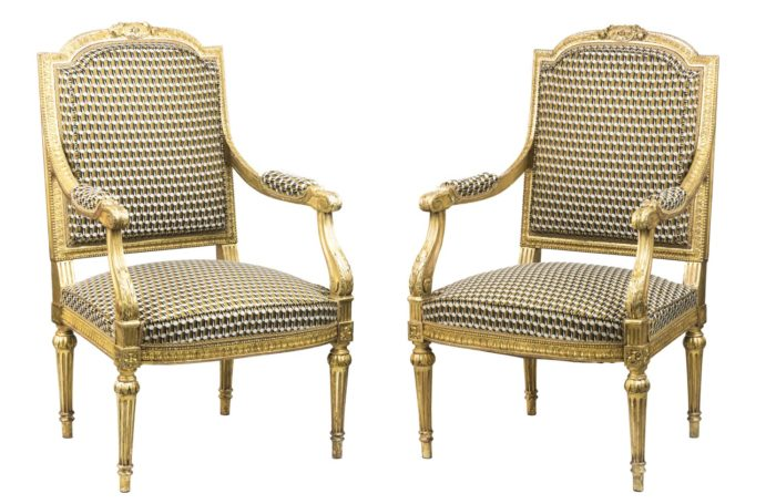 louis xvi style armchairs gilt wood