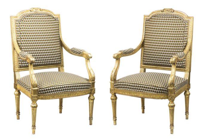paire fauteuils style louis xvi bois doré pcple