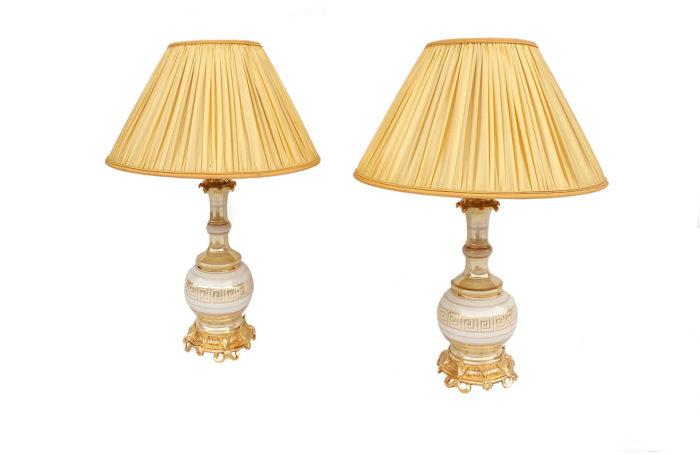 paire lampes porcelaine irisée creme or pcple