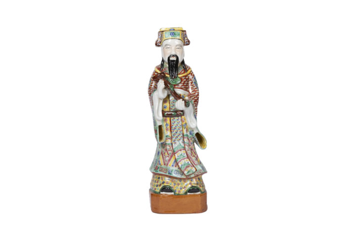 sculpture chinese dignitary earthenware polychrome
