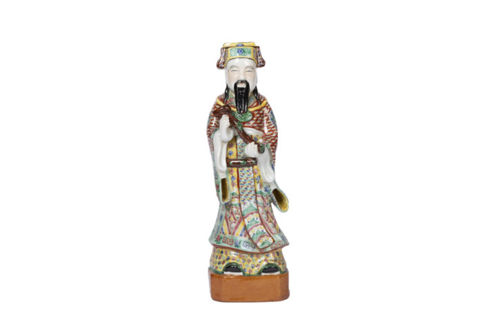sculpture dignitaire chinois faience polychrome