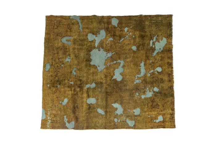 tapis persan ocre et bleu travail contemporain unique pcpl