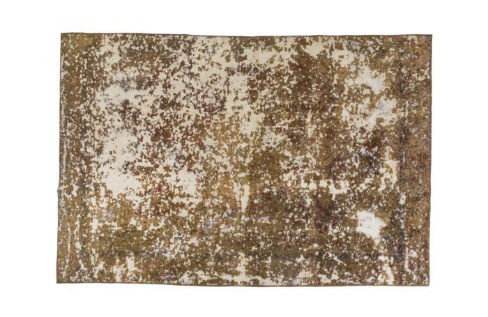 tapis persan travail contemporain ocre et creme pcple