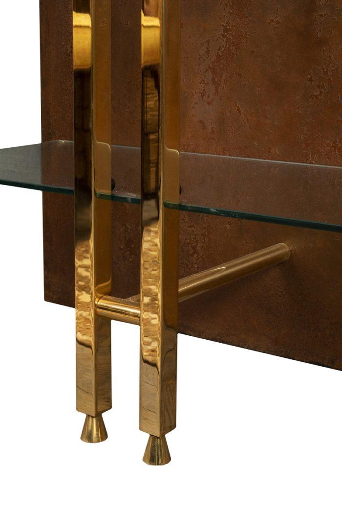 étagère moderniste laiton doré