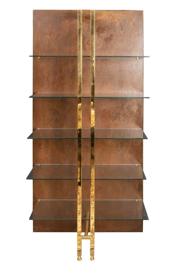 étagère moderniste laiton métal cuivré 1970's face