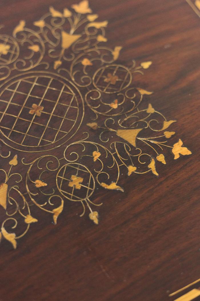 bouts de canapé acajou laiton doré marqueterie