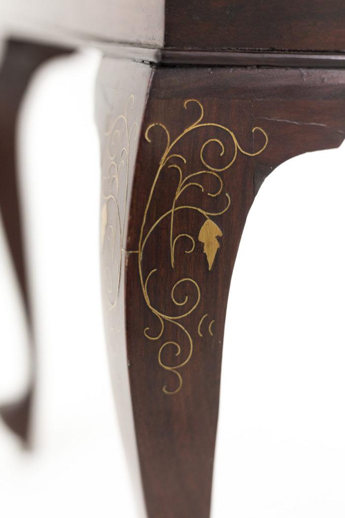 bouts de canapé acajou laiton doré pied chinoisant