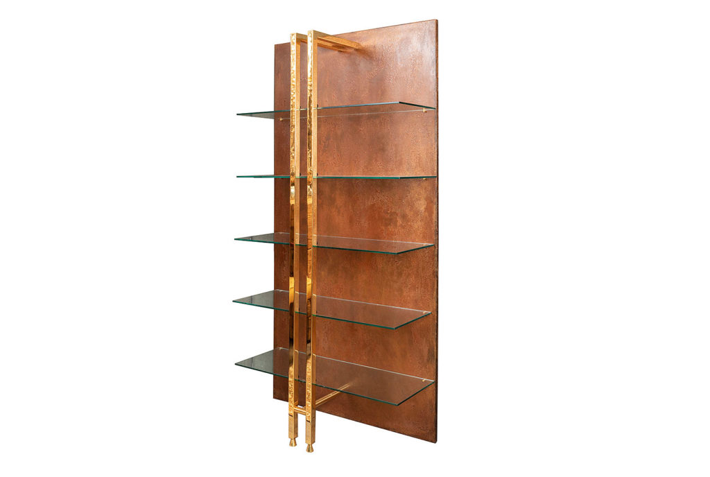Modern style shelf in metal and gilt brass, 1970's