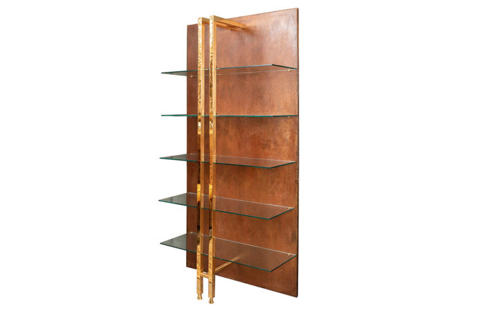 modern style shelf brass copper metal 1970's
