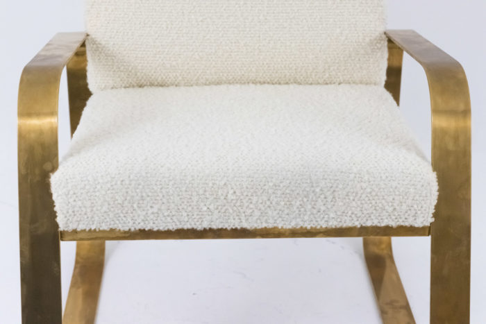 modern easy chairs gilt brass white curls seat