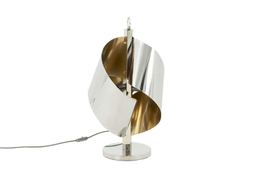 Swirls lamp in chromed and gilt metal, 1970's