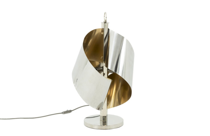 lampe torsades métal chromé doré