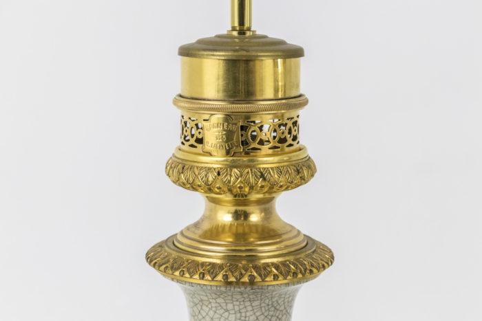 lampes porcelaine céladon monture bronze doré