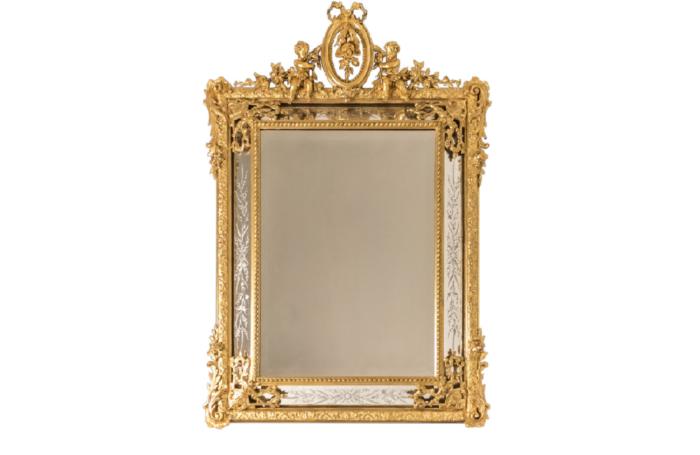 miroir à parecloses bois doré napoleon iii