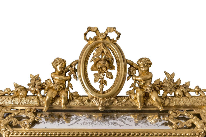 miroir à parecloses napoleon iii putti médaillon