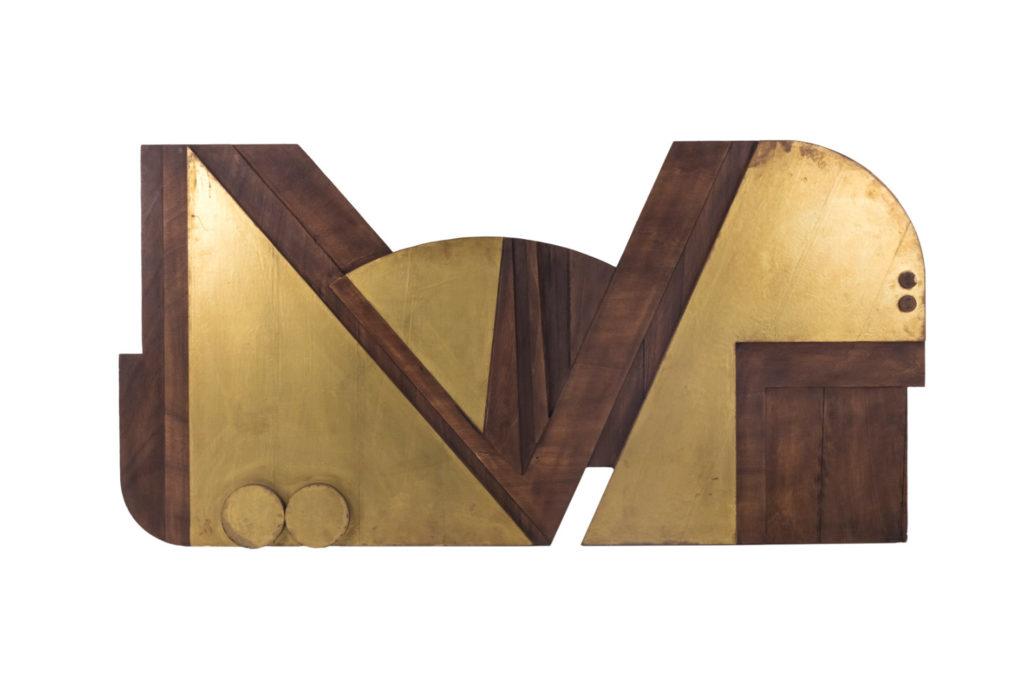 Ceccarelli Nerone, Bas-relief en contreplaqué et laiton doré, années 1980
