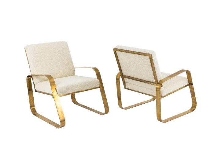 paire fauteuils modernes laiton doré bouclettes pcple