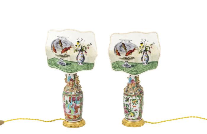 canton porcelain lamps screens