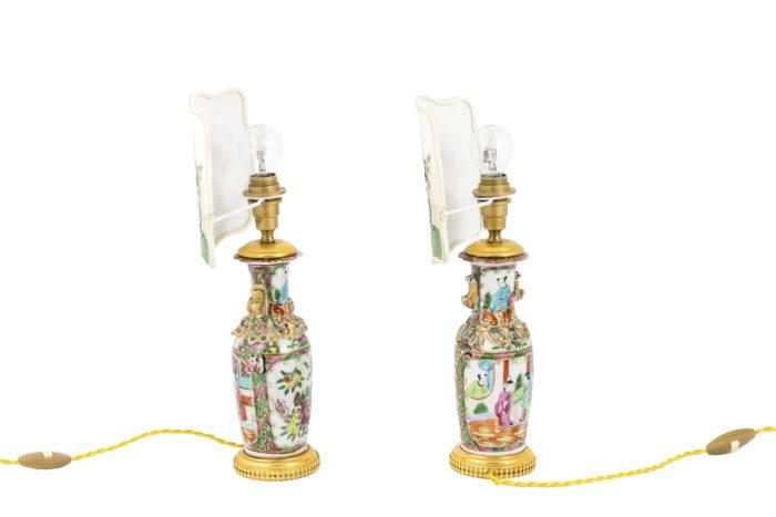 paire lampes porcelaine de canton écrans side 2