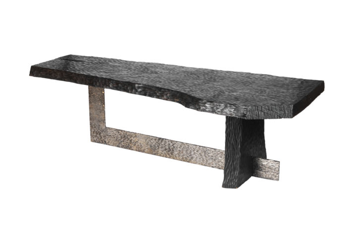 coffee table gouged wood and silvered metal