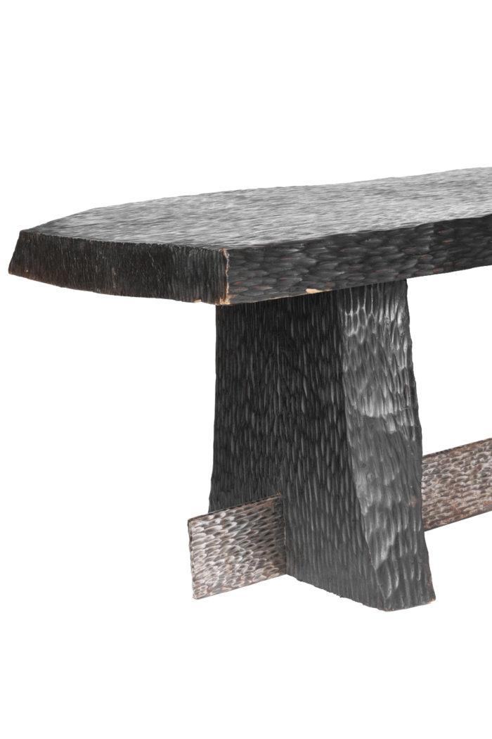 table basse bois gougé et metal argenté pied