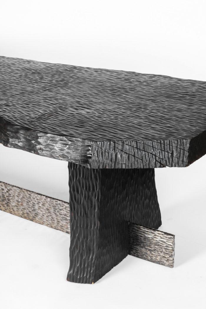 table basse bois gougé pied