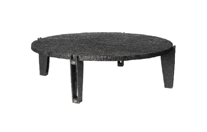 table basse ronde métal bois gougé