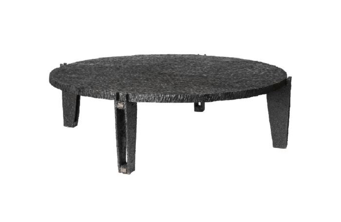 round coffee table black metal gouged wood