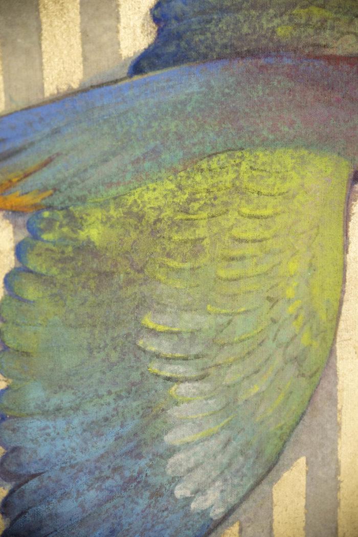 toile peinte ailes perroquet